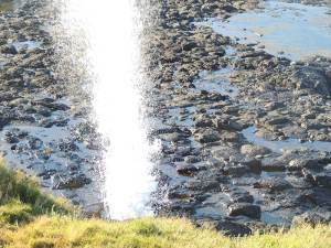 The Little Blowhole at Kiama, dodging salt spray to get a good picture.