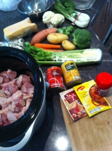 Gather all the vegetables to add to crockpot.