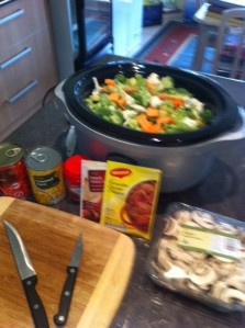 Add the chopped vegetables to the pot