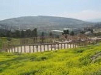 Oval Plaza at Jerash, modern city in background